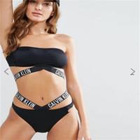 schwarzer, rückenloser badeanzug großhandel-Brief Bandage Badeanzug Frauen Sexy Bikini Sommer Meer Backless Schwimmen Tragen Hohe Elastizität Nylon Schnelltrocknend Schwarz 33xr C1