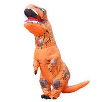 disfraz de superhéroe naranja al por mayor-Tema de dinosaurio inflable Traje Mono Cuerpo completo Cosplay de Halloween Ropa de fantasía para niños Adultos adolescentes Guantes con ventilador incluidos