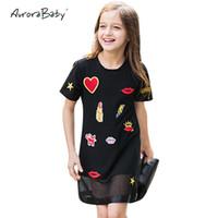 vêtements de 12 ans achat en gros de-Robes d'enfants pour les petites filles d'été robes noires Appliques Vêtements pour filles 6 7 8 9 10 11 12 13 14 ans vêtements vieux Y190516