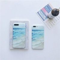 Wholesale painting sea ocean for sale - Group buy IMD Blue Sea Painted case for iPhone X S Plus Ocean Waves beach Soft TPU Case For iPhone plus back cover