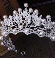 tipos de rolos de cabelo venda por atacado-Moda Acessórios Para o Cabelo Do Casamento Das Mulheres Do Casamento Tiara De Cristal Pérola Jóias Nupcial Brilhante Coroa Tiara Elegante Nupcial Jóias Cabelo
