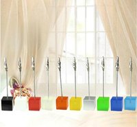 5PC Cube Wire Card Clip Desk Note Picture Memo Photo Holders Wedding Table Stand
