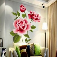 Wholesale planting flowers for decoration resale online - Romantic Love D Rose Flower Blossom Wall Stickers Furnishings Living Room TV Decoration Wall Sticker Home Decor Decal Art
