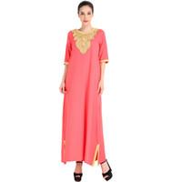 ingrosso rayon per le donne-Abito donna musulmano con ricamo per le donne abbigliamento islamico abito rayon elegante abito da sera per la femmina z0416
