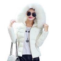 schlanke jacke für damen groihandel-Qualitäts-Frauen-Winter-Big-Pelz-mit Kapuze Kragen Mantel Weiblicher Oberbekleidung Damen Warm Short Basic-Jacken-dünner Jaqueta Female S-3XL