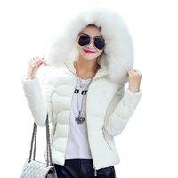 kadın için ince ceket toptan satış-Yüksek Kaliteli Kadınlar Kış Big Kürk Kapşonlu Yaka Coat Kadın Dış Giyim Bayanlar Sıcak Kısa Temel Ceket İnce Jaqueta Kadın En İyi S-3XL
