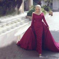 ingrosso abiti arabi dubai-Elegante staccabile musulmane dei vestiti da sera più nuovi Mermaid alto collo maniche lunghe in pizzo in rilievo islamica Dubai Arabia arabo Prom Gowns Abiti