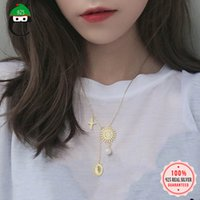 Wholesale 925 sun necklace resale online - Gold Charm Necklace Sterling Silver Made Sun Style Drop Pendant Necklace Fashion Jewelry For Girls Office Lady DS1679