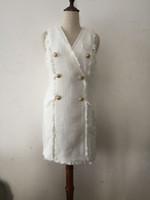 knie feste arbeit kleider großhandel-Neu Mit Label-Tag-Marke B Hochwertiges Originaldesign Damen-Metallschnallen Zweireiher schlankes Tweed-Kleid mit Fransen ärmellos Dres