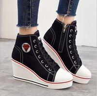 gizli yüksek topuklu ayakkabılar toptan satış-YENI bayan Ayakkabıları Gizli Kama Topuk Ayakkabı 2019 Kadın Rahat Ayakkabılar Tuval Sneakers Yüksek Üst Nefes Platformu Chaussure Femme