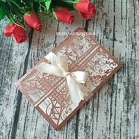 gold rosa hochzeitseinladungen großhandel-Turm-Glitter-Einladungen des Rosa-Gold2019 für Hochzeits-Verlobungs-Geburtstags-Abschluss-Jahrestags-Geschäfts-Party laden mit Champage Band ein