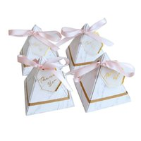 Wholesale giveaways box resale online - Marble Style Europe Ribbon Thanks Guests Wedding Pyramid Decoration Box Boxes Card Giveaways Candy Gifts Triangular