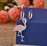 elmas şekilli kristaller toptan satış-Avrupa ve Amerikan küpe pembe kristal elmas ile asimetrik set flamingo şekli küpe kişilik uzun küpe