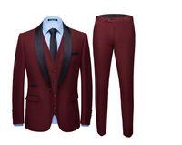 tuxedos farben großhandel-WL New Style Red Groomsmen Schal Revers Bräutigam Smoking Solide Multi Farben Mann Anzüge Hochzeit Beste Männer Blazer