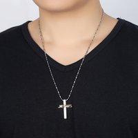 sıcak i̇sa kuyumculuk askıları toptan satış-Klasik Kadın Erkek Kolye Çapraz Tasarımcı Kolye İsa Mektup Buzlu Out Kolye Lüks Kolye Paslanmaz Çelik Takı Sıcak satış