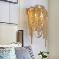 lámparas de pared espejo al por mayor-Italian Atlantis Luxury Chain Light Lámparas de pared espejo luz Stream sconce Wall Lights Lámpara de dormitorio con luz de baño para decoración LOFT