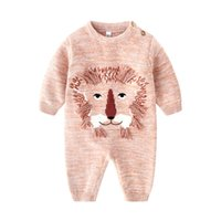 Wholesale knit diapers girl resale online - Infant girls knitted sweater romper boys cartoon tassel lion long sleeve jumpsuits newborn baby kids cotton diaper baby boy clothes J0472