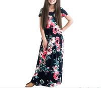 b517d42383ae nelle vendite calde le neonate maxi vestono la ragazza il tessuto a maglia  di estate i nuovi vestiti da stile scherzano il vestito lungo del fiore  floreale