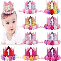 chapeau de bébé achat en gros de-Bébé Fille Anniversaire Couronne Numéro de Bandeau Fleurs Accessoires Bébé Accessoires Princesse Style Chapeau D'anniversaire Chapeau Partie Sequined Bonnet