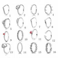 anel de faixa de ouro vermelho rubi venda por atacado-925 Luxury Designer Sterling Silver Jewelry Mulheres Anéis Pandora estilo anel de diamante anéis de casamento anel de noivado para as mulheres
