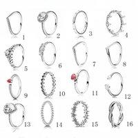 nouvelles bagues en argent sterling achat en gros de-925 Sterling Silver Style Pandora Anneaux Pour Les Femmes Nouveau Diamant BAGUE De Mariage De Fiançailles Couple Bague Bijoux