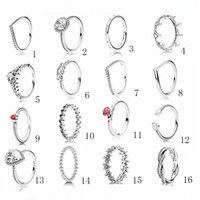 tasarımcı tarzı yüzükler toptan satış-Kadınlar İçin 925 Lüks Tasarımcı Gümüş Takı Kadınlar yüzükler Pandora Stil Yüzük Elmas HALKASI Düğün Nişan yüzüğü
