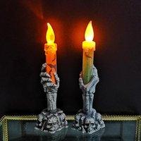 neon plastik großhandel-Halloween Ghost Hand Nachtlicht des Ghost Festival Atmosphäre Requisiten Kunststoff Neon LED Kerzenlicht Halloween Dekoration