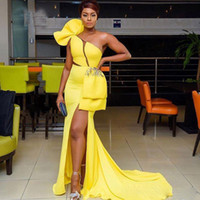 vestido de sirena amarilla raja al por mayor-Vestido de color amarillo brillante Vestido formal Vestidos de noche abiye robe de veir Abendkleider Sexy Slit Vestidos de noche Apliques Sirena larga