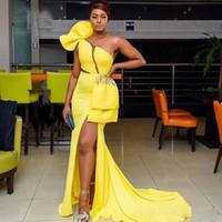 fenda de vestido de sereia amarela venda por atacado-Vestidos de noite vestido amarelo brilhante formal abiye robe de soiree Abendkleider fenda Sexy vestidos de noite Applique Sereia Long