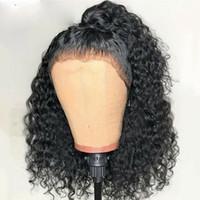perruque blonde cheveux bouclés achat en gros de-Nouvelle vague profonde brésilienne bouclés dentelle fermeture perruques avant plumé avec bébé cheveux avant de dentelle courte synthétique bouclés perruques pour les femmes noires