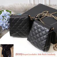 Wholesale over shoulder bag nylon online - Fashion Import Lambskin Side packs Pearl Chain Crossbody Hot Women s Shoulder Chain Bag Pearl Design Messenger Bags Handbags