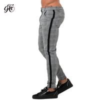 moda listra cinza venda por atacado-Gingtto Mens Chinos Slim Fit Calças Skinny Para Homens Chino Calças Projeto Xadrez Moda Cinza Com Listra no Lado 28-36