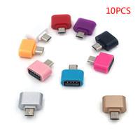 otg klavyesi toptan satış-10 Adet / grup OTG Adaptörü Mikro USB USB 2.0 Dönüştürücü OTG Kablosu Android Samsung Galaxy Tablet Pc için Flaş Fare Klavye Otg