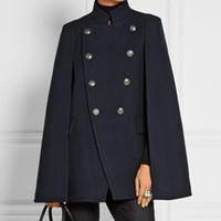 abrigo largo de lana negro al por mayor-Para hombre de lana de cachemira del cabo de doble botonadura del abrigo del mantón de la solapa capa larga gótico largo lujo Outwear alta calidad ejército negro