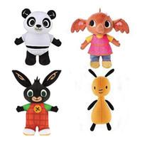 rosa sego headtie großhandel-4pcs / lot 25-30cm Waldplüsch-Bing-Häschen-Spielzeug, flaumige Häschen-Panda-Elefant-angefüllte Plüsch-Puppe für Kinderweihnachtsneujahrsgeschenk