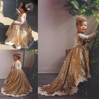 Wholesale long christening gowns for baby girls resale online - Gold Sequined High Low Girls Pageant Gowns with Lace Sheer Long Sleeves Sweep Train Baby Flower Girl Dresses For Wedding Custom Made