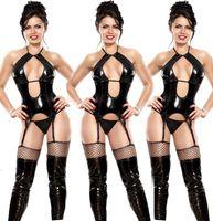 mono talla grande de cuero negro al por mayor-Ropa interior atractiva para las mujeres Lencería erótica de cuero negro Tentación Sling Leather Sling Jumpsuit Plus Size M-5xl No incluye calcetines