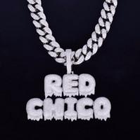 kette mm anhänger großhandel-Mit 20 MM Kubanische Kette Benutzerdefinierte Name Tropfblase Brief Kette Anhänger Halsketten Männer Zirkon Hip Hop Schmuck