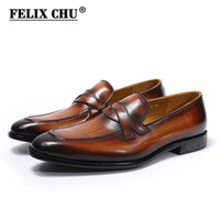 деловой повседневной рабочей обуви мужчины оптовых-Genuine Leather High Quality Men Loafers Shoes Classic Style Business Office Work Casual Male Footwear Breathable Size 39-46