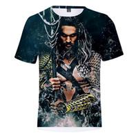 super-héros comique achat en gros de-T-shirt à manches courtes Arthur Curry Unisexe ras du cou Aquaman Shirts été 3D Print Super Hero Comic Blouse