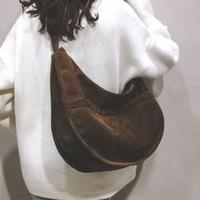 Wholesale cross shoulder cell phone bags for sale - Group buy Casual women bag fashion corduroy shoulder bag for women new large capacity messenger pure black crescent