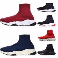 calçados casuais azuis reais venda por atacado-Balenciaga soock speed trainer Mens casual zapatillas Speed Trainer Sapatos Preto Vermelho Triplo Preto azul Plana Moda Meias Botas de grife mulheres brancas Sneaker Trainer Corredores