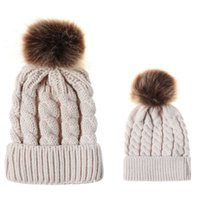 Wholesale yellow wool kids hats resale online - Kids Winter Knitted Hat Colors Solid Keep Warm Coarse Wool Parent child Caps Hat Children Autumn Winter Hats