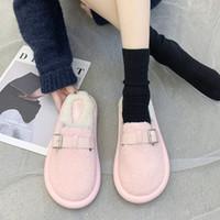 puntera de algodón cubre a las mujeres al por mayor-Cubierta del dedo del pie zapatos de las señoras zapatillas de lujo Diapositivas Slipers piel de las mujeres de las chancletas de baja Diseñador 2.019 plana felpa de goma tela de algodón