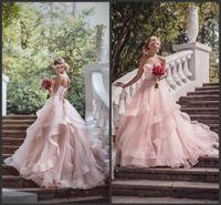allık ve boyut elbiseleri toptan satış-2019 Romantik Allık Balo Gelinlik Ruffles Organze Boncuk Dantel Sevgiliye Boyun Kanat Ülke Açık Düğün Gelin Törenlerinde Artı Boyutu
