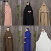 abaya musulman noir achat en gros de-Ramadan Abaya Dubai Robe Musulmane Vêtements De Prière Kaftan Noir Avec Des Robes En Hijab Arabian Vêtements IslamiqueTurquie Islam Elbise