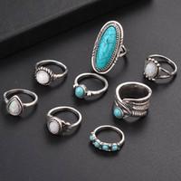 tibet türkis großhandel-8 Teile / satz Silber Türkis Opal Ringe Set Natürliche Edelstein Ring Frauen Modeschmuck