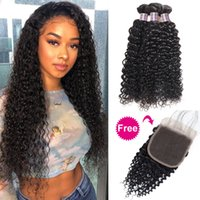 Wholesale light yaki hair weave bundle for sale - Group buy Peruvian Human Hair Bundles with Closure Buy Bundles Get A Free Closure Deep Loose Wave Yaki Indian Straight Deep Kinky Curly Wave Body