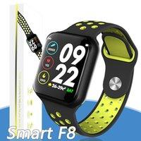 ingrosso trasporto libero del bluetooth del monitor del cuore-F8 intelligente orologio con cardiofrequenzimetro intelligente braccialetto impermeabile IP67 Bluetooth Fitness Tracker per il trasporto libero del telefono
