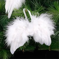 Wholesale wings decor resale online - Lovely Chic Angel White Feather Wing Christmas Tree Decoration Hanging Ornament For Home Party Wedding Ornaments Xmas Tree Decor
